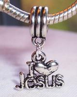 antique jesus - Hot Antique Silver Alloy quot I Love Jesus quot Heart Religious Dangle Bead Fit Charm Bracelet x mm
