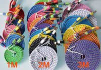 Wholesale 1M M M Flat Wide Knit Fabric Braided Data Charger Charging Cable Wide Fiber Nylon Fabric Woven Cord Lead For Smartphone Mobile Phone