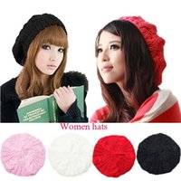 Wholesale Retail Autumn And winter Women Warm Berets Caps Girls Hand Hook Twist Hats Knitted Cap