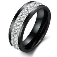 Cheap New two rows of white ceramic CZ diamond ring elegant vogue jewelry wedding ring