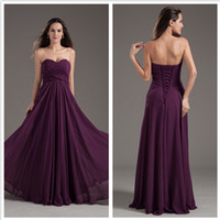 Wholesale 2015 purple bridesmaids dresses Elegant A Line Sweetheart Sleeveless Floor Length Chiffon With Lace up Cheap Bridesmaid Dress Under