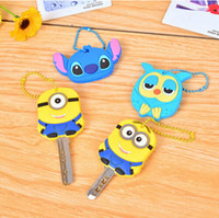 Alloy key covers - 2015 New Minions Keychains Despicable Me minion Silicon soft key covers owl chains kitty Cases Stitch Keychain Retail packing Promotion Gift