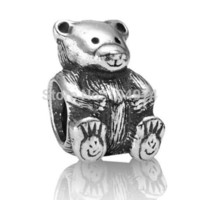 animal teddies - Teddy Bear Charms Sterling Silver European Charm Beads Fit Snake Chain Bracelets Fashion Jewelry