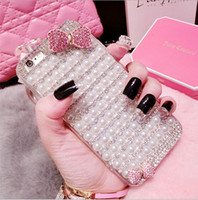 bling cell phone case - QUALITY CUTE Pearl Diamond Bow Glitter Rhinestone Crystal Bling Bling Iphone6 Plus Cases Cell Phone Cases Environmental Produce