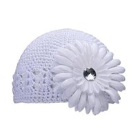 Wholesale Newly Design Newborn Baby Flower Hats Toddlers Infant Baby Girl Knitted Autumn Caps Sep9