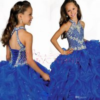 Wholesale Best Selling Halter Ball Gown Glitz Girls Pageant Dresses Organza Pleats Cut Flower Girls Pageant Gowns