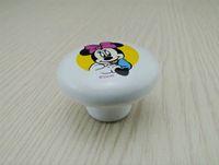 white bedroom furniture - Fashion Ceramic Minnie Cartoon Furniture Handles White Mouse Children Modern Mice Kitchen Drawer Bedroom Cabinet Door Knobs Pulls