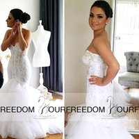 Cheap 2016 Vintage White Lace Mermaid Wedding Dresses Sheer Sweetheart Beads Appliques Sleeveless Backless Sweep Train Arabic Bridal Wedding Gown