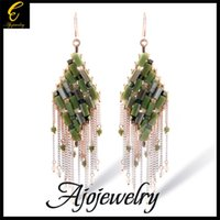 austrian palaces - 010 brand palace tassel earring luxury long design green austrian crystal drop earrings exaggerated gold for women
