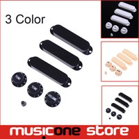 Wholesale 1 Set Colorful Solid Single Coil Pickup Covers Tone volume konbs and Switch tip Closed Plastics For FD Strat Guitar MU1230