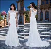 Wholesale Stunning White Bridal Gowns Brides Dress Lace Appliqued Bateau Neck Cap Sleeve Covered Buttons A Line Sweep Train Wedding Dresses