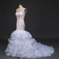 beautiful dress - 2016 New Sexy Mermaid Wedding Dresses Organza Custom Long China Sweetheart Appliques Beautiful Summer Lace Cheap Princess Bridal Gowns