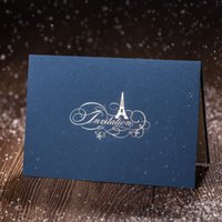 elegant wedding invitations - Laser Cut Wedding Invitations Cards Blue D Tower Pattern Shaped New Party Invitatees Chinese Elegant WISHMADE CW5085