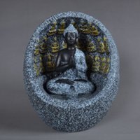 Cerámica estatua de mármol de imitación, azul quemador de incienso, la figura de Buda, incensario, incensario, incensario, el budismo, Joss ~