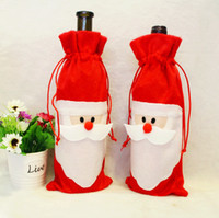 acrylic table cover - 2015 Christmas Decorations cm Santa Claus Red Wine Bottle Cover Gift Bags Christmas Table Dinner Decor Home Party Supplies