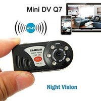 Wholesale Q7 Mini Portable Wifi IP Camera Wireless Spy Hidden Video Camcorder Cam IR night vision PC P2P Mini DV