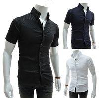 Organic Grain - 2015 summer fashion dark grain plaid shirt han edition Men s cultivate one s morality short sleeve shirt black large size shirt