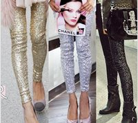 gold leggings - winter autumn women sequin leggings hot punk bling sequin trousers shining gold black silver spangle formal pants apparel SML