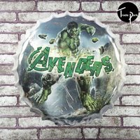 Wholesale 35 cm Round Avenger Metal Signs Retro Poster Pub Home Vintage Party Decor Bottle Cap