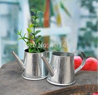 Wholesale 30pcs Vintage Nostalgia Mini Garden Silver Watering Can Tin Bucket Flowers Keg Favor Box Kit Wedding favor Tin Box