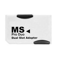 Wholesale 2 Slot Dual Micro SD SDHC TF to Memory Stick MS Card Pro Duo Reader for PSP Adapter