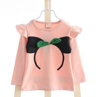 Cheap Girls Cute Minnie Mouse Printed With Polka-Dots Bowknot Decoration Undershirts Kids Cotton Ruffles Shoulders Tops Clothing Pink Yellow E1789