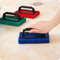 Wholesale 1pc Sponges brush with handle Scouring Pads cleaning cloth Microfiber magic kitchen toilet Household tools S