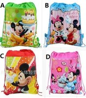 Wholesale 30pc Children s Cartoon bag Hello kitty Me Monions Non woven Drawstring backpack party School bag Shopping Bags Gift for Kid Design KB18