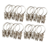 curtain ring clip - New Arrival Window Shower Curtain Rod Clips Stainless Steel Rings Drapery Clips Metal Color Drop Ship