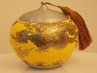 Wholesale Recommended Dragon Haitian pattern pure tin tea caddy inlaid porcelain ceramic tea caddy gift tin cans