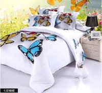 Cheap 3D Butterfly Comforters 4 Pcs Bedding Sets 100% Cotton Fabic Quilt Duvet Cover Flat Fitted Bed Sheet Pillowcase DHL free