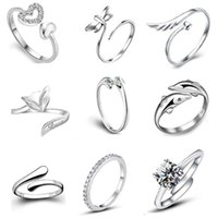 cubic zirconia stone - 9 styles silver band rings S925 silver charming finger rings open size rings silver jewelry WH