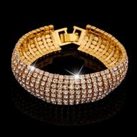 Wholesale Rows Crystal Rhinestone Bracelet Bangle Bling Wristband Women Wedding Bridal Bracelet Jewelry Hot Free Ship B413
