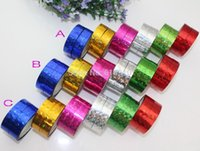 Wholesale Butterfly Heart checks prism Hoop Holographic Tape For Gift Packing Adhesive Laser Tape mm m ft hologram tapes