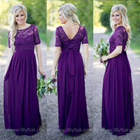 Wholesale Purple Bridesmaid Dresses Vintage Lace with Short Sleeves Open Back Sash Chiffon Western Wedding Maid of Honor Dress Prom Evening Gowns