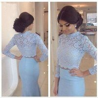 Wholesale 2016 Two Piece Mermaid Prom Dresses Sexy Sheer Lace Long Sleeve Formal Evening Gowns Sweep Train Beaded Party Dresses New Arrival