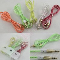 Wholesale mm Audio AUX Cable m ft Stereo Braided Woven Fabric Wire Jack Male to Male Cable for iphone plus Samsung s5 Note