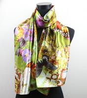 butterfly scarf silk - 1pcs Green Lavender Daisy Butterfly Women s Fashion Satin Oil Painting Long Wrap Shawl Beach Silk Scarf X50cm