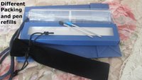 Wholesale with logo diamond Crystal ballpoint pen in crystal stylus touch pen black blue refill box pouch bag