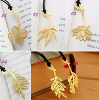 metal bookmark - New creative style metal lanyard bookmark exquisite lotus plant olive leaf Clover mimosa maple bookmark High quality