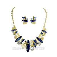 bead projects - Ethnic Style New Fashion Blue Purple Color Beads Big Necklace and EarringsJewelry Sets bead necklace projects