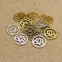 Wholesale pieces mm Antique three color Metal Alloy Lotus Flower Charms Jewelry Making Charms T0207