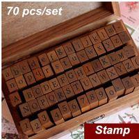 scrapbooking supplies - 70 Set DIY stamp Standard Alphabet Symbol wooden box Vintage decor scrapbooking Stationery Office school supplies
