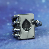ace skeleton - 2Pcs Hight Quality Stainless Steel Skeleton of Hand Holding An Ace of Spade Ring Popular Wearing for Party