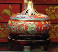Wholesale Authentic Old Beijing Cloisonne Incense Burner Polished Enamel Craft Utility Gold plated A Must For Decoration Or Enjoyment