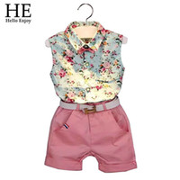 Wholesale Baby boys girls casual summer style Sleeveless shirt pink floral inches small shorts white belt suit clothing set