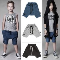 Wholesale 2015 summer ins hot sale nununu kids children s boy s cross printed haren denim shorts baggy pants