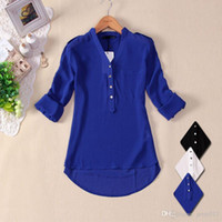 women - new women spring summer V neck chiffon elegant all match solid botton casual shirt blouse white black blusas femininas