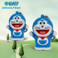 Wholesale Doraemon LED Luminous keychains With Sound Effects Creative Cartoon Chain Key Pendant Hot Selling