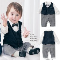 Wholesale 2015 Autumn New Boy onesies Gentleman Bow Vest Long Sleeve One Piece Jumpsuits